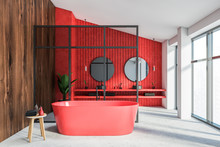 Red And Wooden Bathroom With Glass Wall