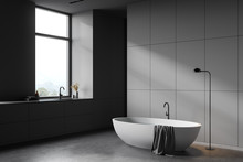 Luxury Gray Bathroom Corner Wi...