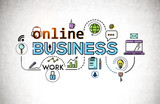 Online business icons on concrete wall