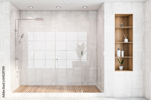 White wooden bathroom interior with shower stall Canvas