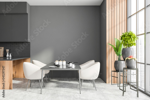 Gray and wooden dining room interior