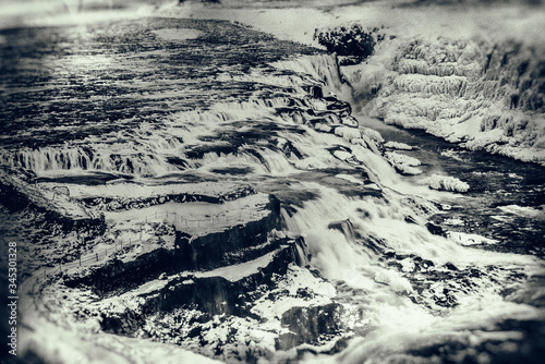 Gulfoss in Icelands Interior, snow covered waterfalls. Canvas Print