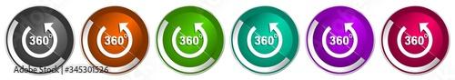 Fototapeta Panorama icon set, silver metallic chrome border vector web buttons in 6 colors