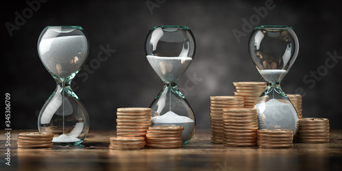 Fototapeta Golden coins and hourglass clock. Return on investment, deposit, growth of income and savings, time is money concept. Business success. 3d illustration obraz