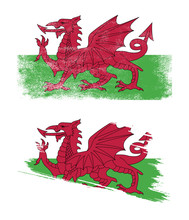 Wales Flag With Grunge Texture