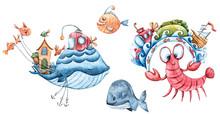Watercolor Nautical Set. Hand ...