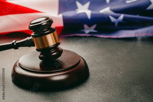 Photo law gavel and USA america flag - American crime concept
