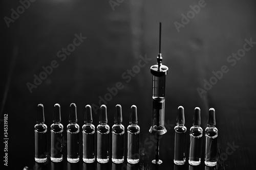 vintage syringe medicine, concept vaccine, injection, drug Wallpaper Mural