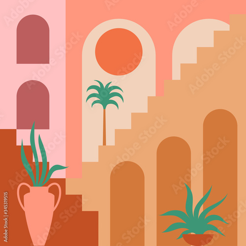 Fotografija Contemporary aesthetic background with flat geometry architecture, Moroccan stairs, walls, arch, arc, plants, Sun