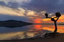Sunset Over Nove Mlyny Lake In...