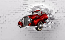 3d Mural Wallpaper Broken Wall Bricks And Red Classic Car . World Map In Colored Background  Suitable For Childrens And Kids Bed Room Wallpaper .