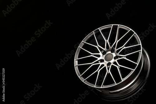 Fotomural black alloy wheels, aluminum disc sport with a carbon fiber cover