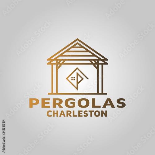 Custom luxury pergolas beautiful wood work logo design Fototapeta