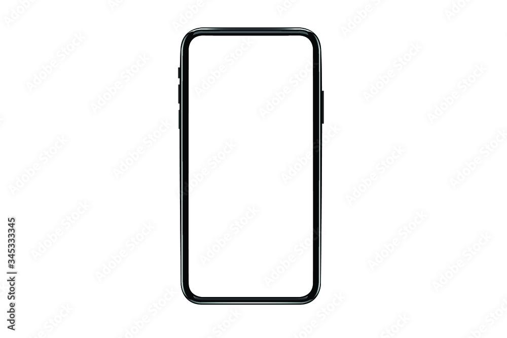 Fototapeta Smartphone mockup. New black frameless smartphone mockup with white screen. Isolated on white background. Based on high-quality studio shot. Smartphone frameless design concept.