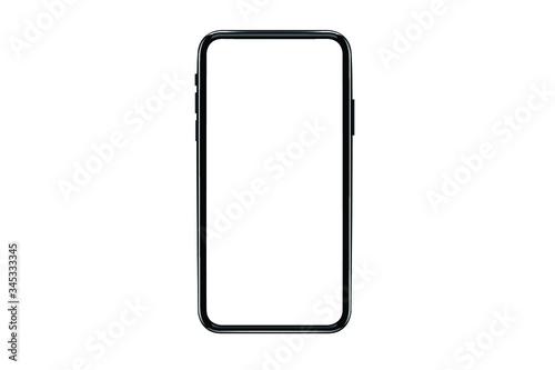 Fototapeta Smartphone mockup. New black frameless smartphone mockup with white screen. Isolated on white background. Based on high-quality studio shot. Smartphone frameless design concept. obraz
