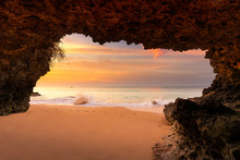 Amazing View On Tropical Beach From Mountain Cave At Sunset