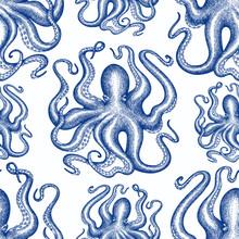 Octopus Seamless Pattern. Hand Drawn Vector Seafood Illustration. Retro Sea Animals Background