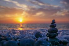 Zen Stone Sculpture - Pebble -...