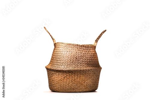 Obraz wicker basket isolated on white - fototapety do salonu