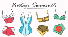 Vintage Swimsuits Set. Vector Collection Of Women Underwear. Sketched Bikini And One Piece Swimwear With High Waist. Retro Illustration For Shops, Boutiques