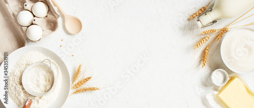 Banner with ingredients for home baking decorated with wheat ears Canvas Print