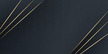 Luxurious Dark Black With Golden Line Background. Vector Luxury Tech Background. Stack Of White Paper Material Layer With Gold Stripe. Arrow Shape Premium Wallpaper With Black Backdrop