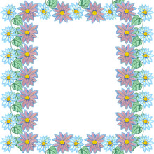 Outline Frame Flower Blue Lilac Daisies