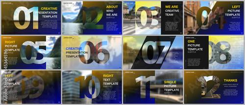 Fotografie, Tablou Minimal presentations design, portfolio vector templates with numbers