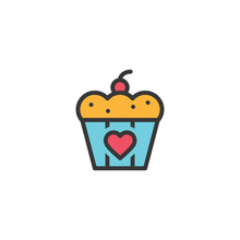 Cupcake Love With Heart Icon  ...