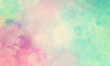 Leinwandbild Motiv Colorful watercolor background of abstract sunset sky with puffy clouds in bright painted colors of pink blue green and white