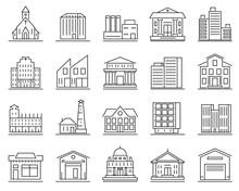 City Building Sign Contour Linear Icon Set. Vector