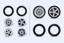 Car Wheels Set. Different Wheels On Land Transport. Realistic Shining Disk Car Wheel Tyre Set Isolated Vector Illustration. Various Alloy Wheels Set. Rims Vector Collection.