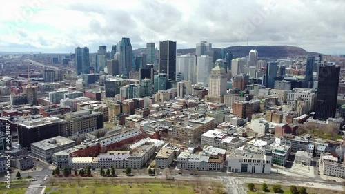 Fototapeta Aerial view of Montreal Canada downtown buildings