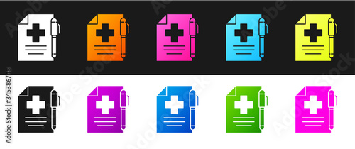 Photo Set Medical prescription and pen icon isolated on black and white background