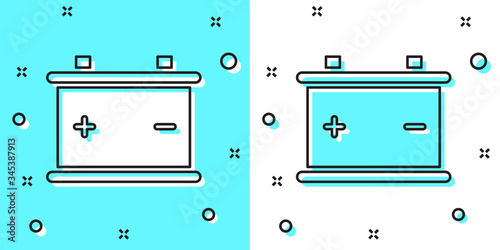 Photo Black line Car battery icon isolated on green and white background