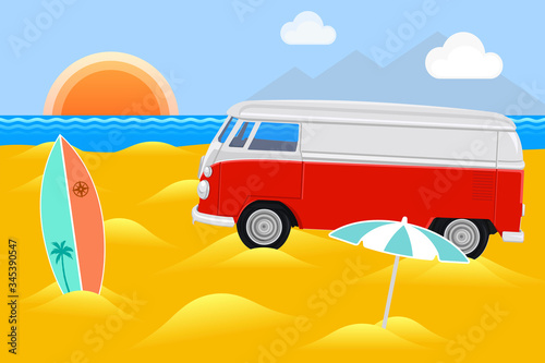 Fotografie, Obraz Illustration of a vintage Volkswagen bus at the beach with surfing equipment