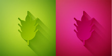 Paper Cut Hop Icon Isolated On Green And Pink Background. Paper Art Style. Vector Illustration
