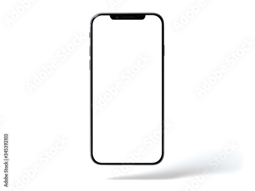 Smartphone mockup, phone with blank screen and shadow isolated on white background Canvas Print