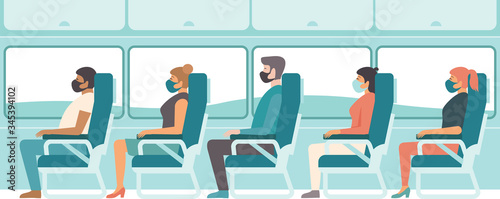 Fototapeta Passengers wearing protective medical masks travelling by bus or train.. Travel during coronavirus COVID-19 disease outbreak. obraz