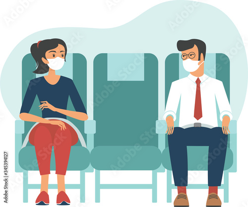 Passengers wearing protective masks travel by airplane Fototapeta