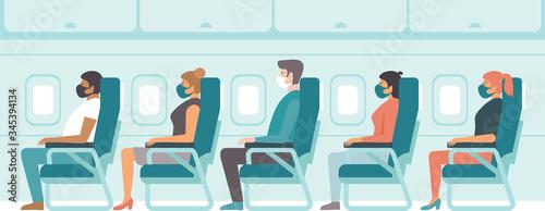 Fototapeta Passengers wearing protective medical masks travelby airplane.Travel during coronavirus COVID-19 disease outbreak. obraz
