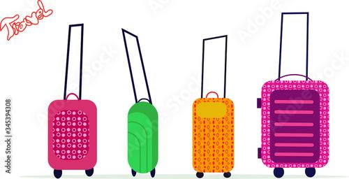 Obraz na plátně Set of  wheeled suitcases, bags