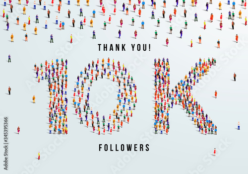 Fotografie, Obraz Thank you, 10k or ten thousand followers celebration design