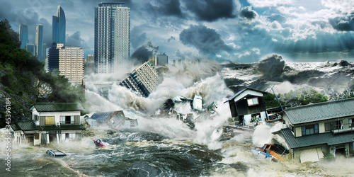 Leinwand Poster Big tsunami flooding wave destroy city with skyscrapers near ocean