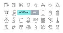 Vector Bathroom Icons. Editabl...