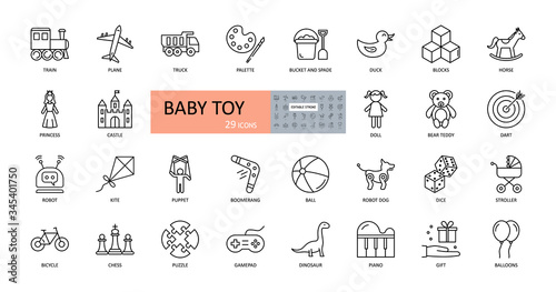 Vector baby toy icons. Editable Stroke. Cars, dolls, robots. Princess castle, teddy bear horse duck. Toys for children of different ages, for boys and girls