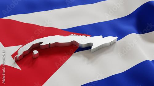 3d map of Cuba resting on national flag backdrop Wallpaper Mural