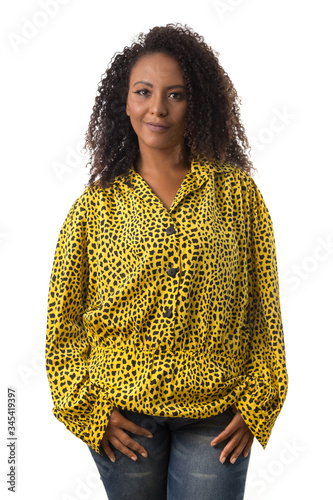afro hair black brazilian girl looking happily in camera Fototapet