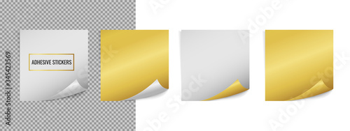 Vector realistic white and golden square sticker label mock up isolated on white and transparent Fototapet