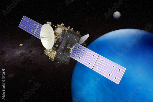 Photo Space probe orbiting Neptune, 3D rendering